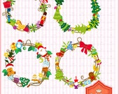 Instant Download, 4 Digital Christmas Wreath------Personal and Small Commercial Use------BP 0368