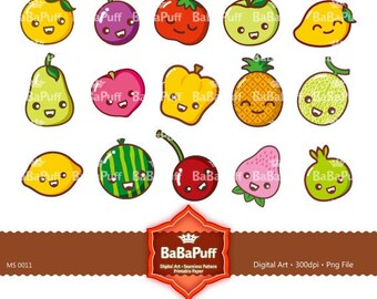 Digital Clip Art --- Cute Fruits, Personal and Small Commercial Use. BP 0011