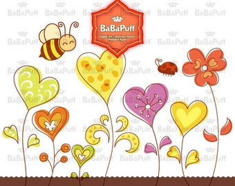 Bee and Heart Shape Floral Designs Clip Art. Personal and Small Commercial Use. BP 0074