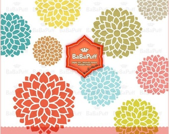 Instant Downloads, 9 Flower Designs Clip Art. For Your Handmade Crafts Projects. Personal and Small Commercial Use. BP 0119