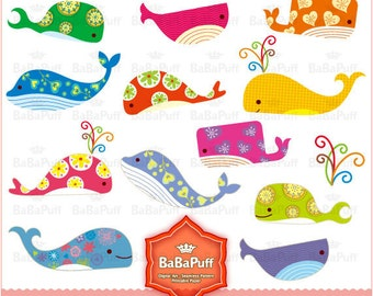 Instant Downloads, Digital Whale Clip Art. Personal and Small Commercial Use. BP 0145