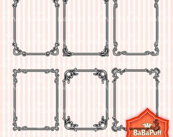 Instant Downloads, Frame Designs - 6 Frame Clip Art Elements, 3 Set. Personal and Small Commercial Use. BP 0195