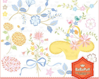 Floral Designs - clip art for scrapbooking, wedding invitation card, Personal and Small Commercial Use. BP 0207