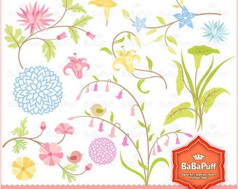 Floral Designs clip art for baby shower, wedding invitation card. Personal and Small Commercial Use. BP 0226