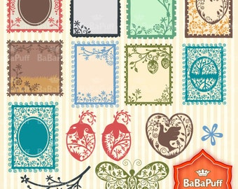 Silhouette Frame Designs Clip Art. Personal and Small Commercial Use. BP 0230