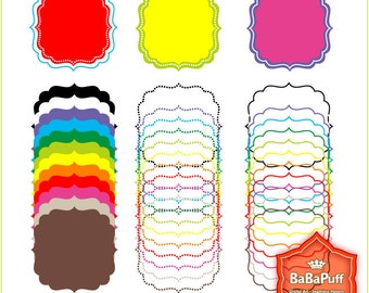 Instant Downloads, 12 X 3 Sets Square Frames Clip Art. For Party Decors Handmade Crafts Projects. Personal and Small Commercial Use. BP 0257