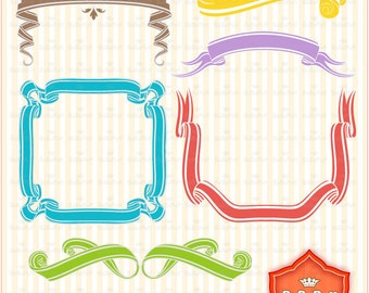 6 x 7 Sets Digital Scroll Banners Clip Art. Personal and Small Commercial Use. BP 0313
