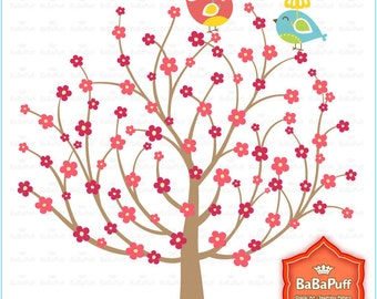 Digital Clip Art --- Trees and Cute Bird , Personal and Small Commercial Use. BP 0325