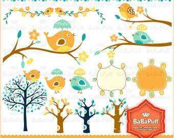 Instant Downloads, Digital Trees and Cute Birds Clip Art. Personal and Small Commercial Use. BP 0234