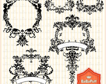 Digital Damask Design Elements, Personal and Small Commercial Use. BP 0348