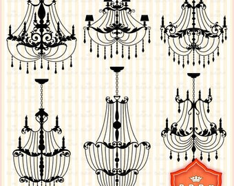 Instant Downloads, Chandelier Silhouette Designs clip art. Personal and Small Commercial Use. BP 0447