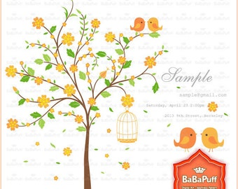 Instant Downloads, Digital Orange Flower Tree and Birds Clip Art , For Invitations Cards Making. Personal and Small Commercial Use. BP 0508
