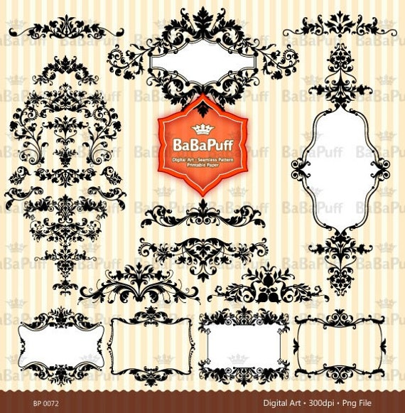 31 Black Damask Clipart Digital Designs, For Wedding Invites Cards, DIY Projects, Personal and Small Commercial Use. BP 0072