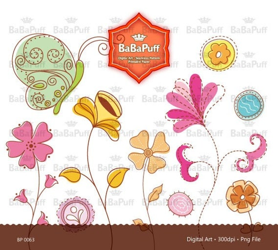 Instant Downloads, Flower and Butterfly Clipart for wedding invitation card making, diy projects, Personal and Small Commercial Use. BP 0063