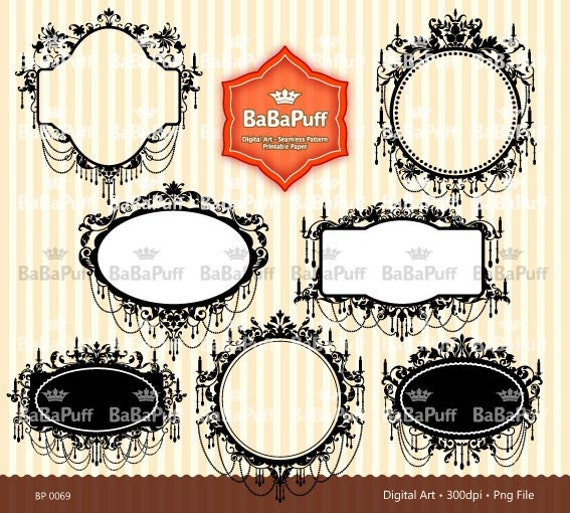Instant Downloads, 7 Digital Frames Clip Art Elements, 3 Set. For Cards, Invites, Labels Making, Personal and Small Commercial Use. BP 0069