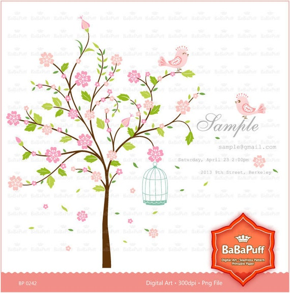 Instant Downloads, Pink Blossom Tree and Cute Birds Clip Art, For Your Wedding Invitations, Personal and Small Commercial Use. BP 0242