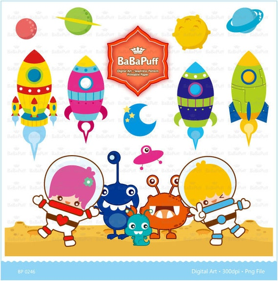 Instant Downloads, Digital Space Ship & Astronaut Children Clip Art. Personal and Small Commercial Use. BP 0246