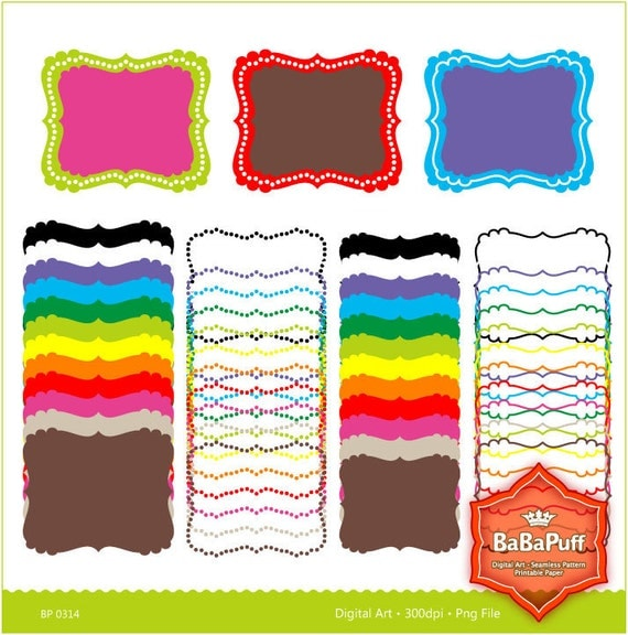 Instant Downloads, 12 Digital Frames X 4 Sets. Personal and Small Commercial Use. BP 0314