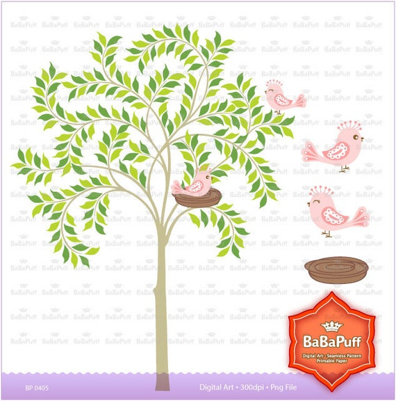 Tree and Birds Digital Clipart, Personal and Small Commercial Use. BP 0405
