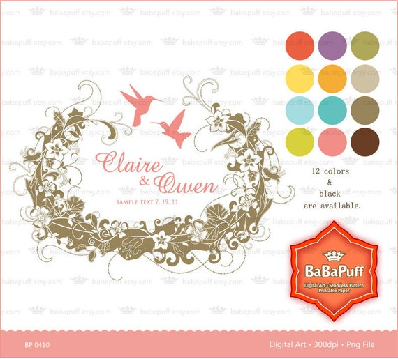 Bird Nest Floral Frame and Hummingbird Design Clip art for scrapbooking, wedding invitation card, Personal and Small Commercial Use. BP 0410