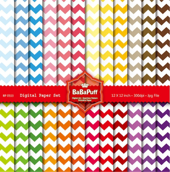 Instant Downloads, 24 Printable Chevron Papers Set 1. Personal and Small Commercial Use. BP 0553