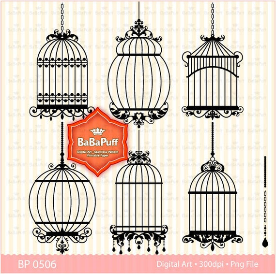 Instant Downloads, Digital Birdcage Clip Art Set 1, For Your Handmade Crafts Projects. Personal and Small Commercial Use. BP 0506