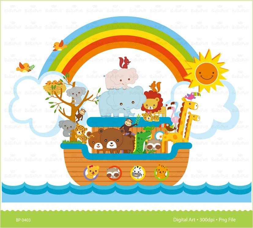 Instant Downloads Digital Noah's Ark Scene Clip Art. For