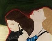 RESERVED  Confidences, original oil portrait, double portrait, oil on wood