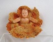 Vintage Miniature Baby Doll Pin Crochet Dress Jewelry Brooch
