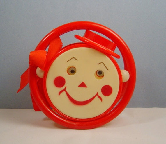 Celluloid Baby Rattle Roly Poly Googly Eye C  1950s