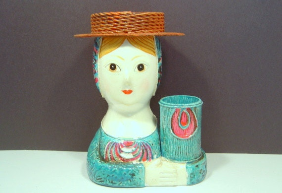 Hold For Ysela  Vintage Paper Mache Doll Head Mannequin Head JAPAN Folk Art C 1960s