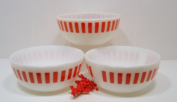 Vintage Hazel Atlas Red Candy Stripe Bowls x 3 Eames