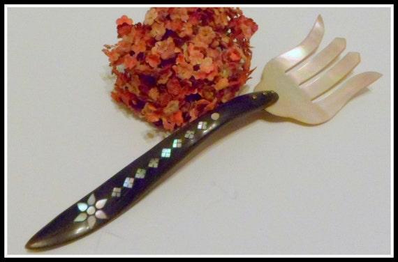 Vintage Mother of Pearl Decorative Fork Shell Art MOP Flatware