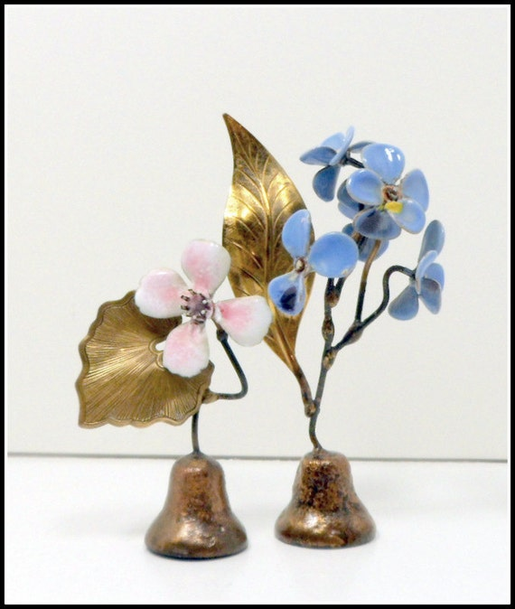 Vintage Enamel Flower Art Bells Copper Brass x 2