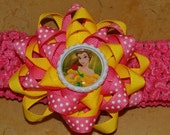Belle INSPIRED Bottle Cap Bow with Matching Headband