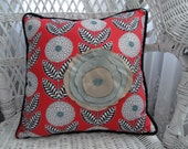 RESERVED for MinervaArt ... Handmade Coral/Aqua Square Pillow
