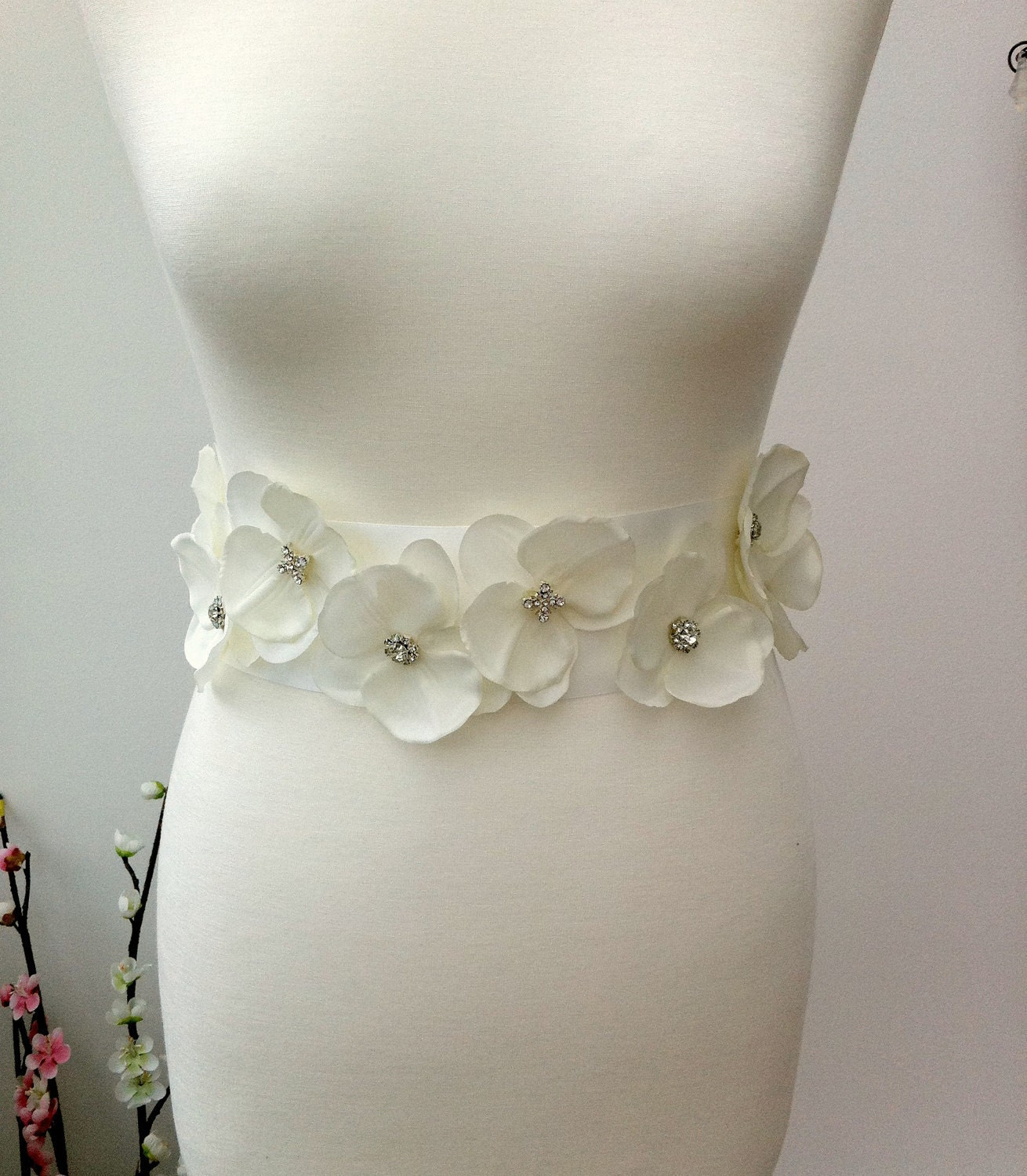 Items similar to Flower Sash Bridal Sash Bridal Flower