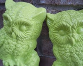 vintage owl wall hangings kitsch housewares woodland home decor owls neon green wall art upcycled