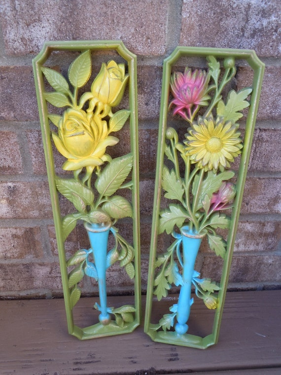 Upcycled Vintage Wall Hangings distressed flowers plastic pink green yellow aqua mod retro