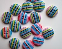 Stripy Rainbow Buttons- square, circle, triangle