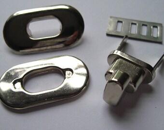 Twist locks, argent sac serrures, argent tour serrures, sac UK faire des fournitures, notions de sac à main, sac, fabrication de matériel d'argent, tournez les serrures - argentées,