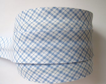 Checked gingham bias binding, light BLUE, UK SHOP