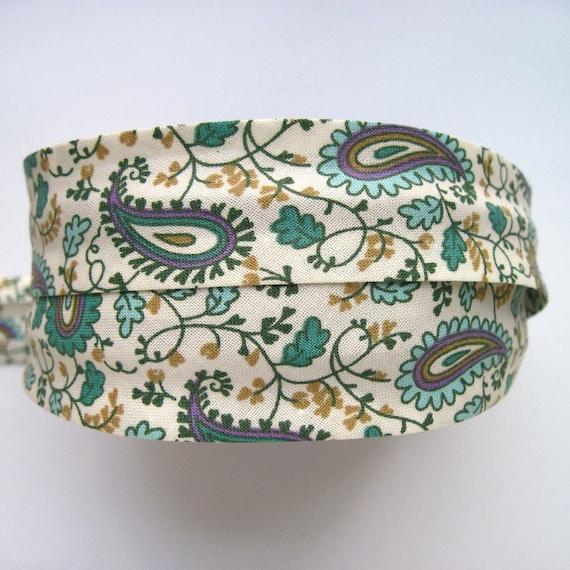 GREEN Paisley bias binding, floral bias tape, green bias tape, sewing supplies, clothes making supplies, green trim, haberdahsery, UK SHOP