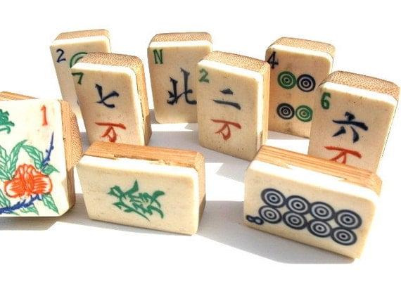 Mahjong TIles, Bamboo Base, Set of 10 Varied designs,