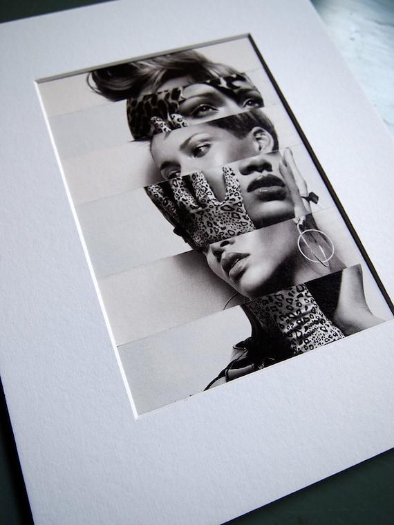 RIHANNA the cut up / original collage, 8x10 mat