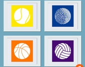 Sport Ball Silhouette Art Prints - (Set of 4) Custom 8 x 8 Posters