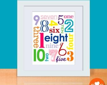 Jumbled Numbers Art Print - RAINBOW - 8 x 10 Poster