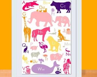 Alphabet Animals Art Print - GIRL - 11 x 17 Poster