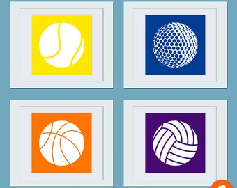 Sport Ball Silhouette Art Prints - (Set of 4) Custom 8 x 8 Posters