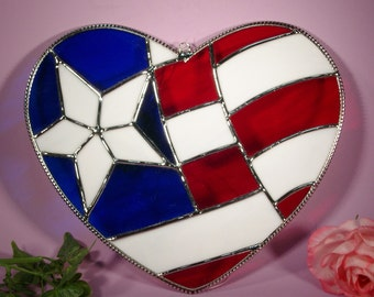 Stained Glass American Flag Freedom Heart  (305)